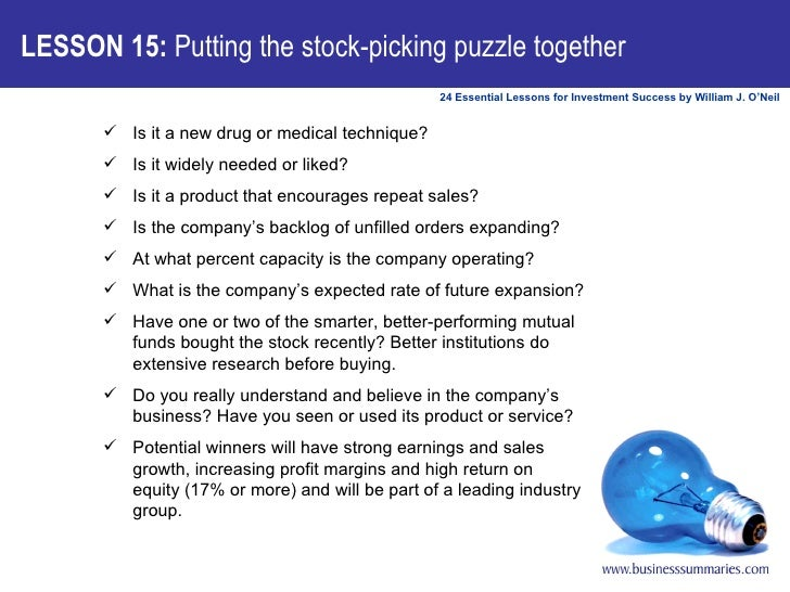 LESSON 15:  Putting the stock-picking puzzle together <ul><ul><li>Is it a new drug or medical technique?  </li></ul></ul><...
