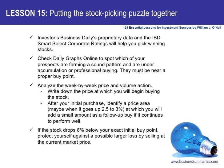 LESSON 15:  Putting the stock-picking puzzle together <ul><ul><li>Investor's Business Daily's proprietary data and the IBD...