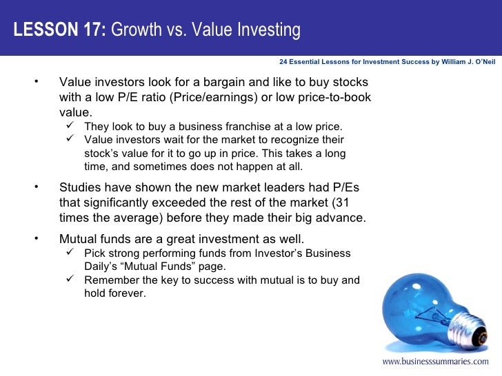<ul><li>Value investors look for a bargain and like to buy stocks with a low P/E ratio (Price/earnings) or low price-to-bo...