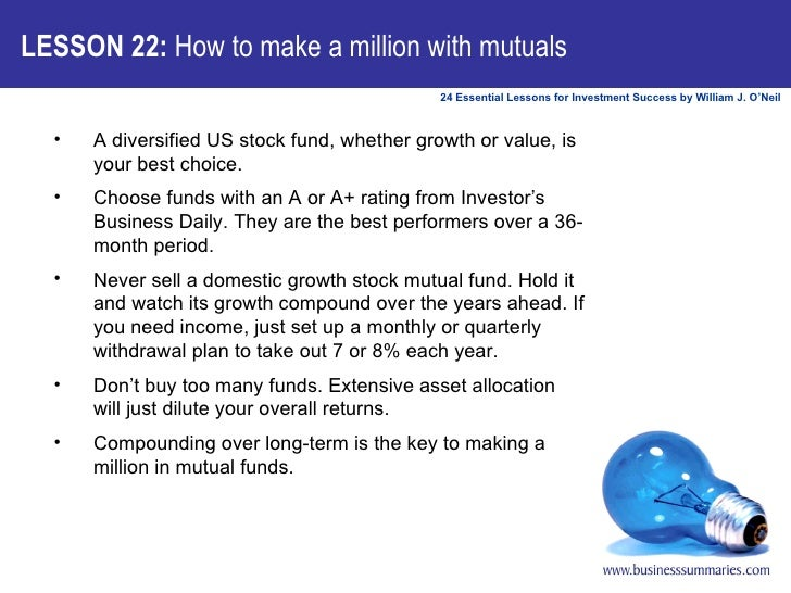 <ul><li>A diversified US stock fund, whether growth or value, is your best choice. </li></ul><ul><li>Choose funds with an ...