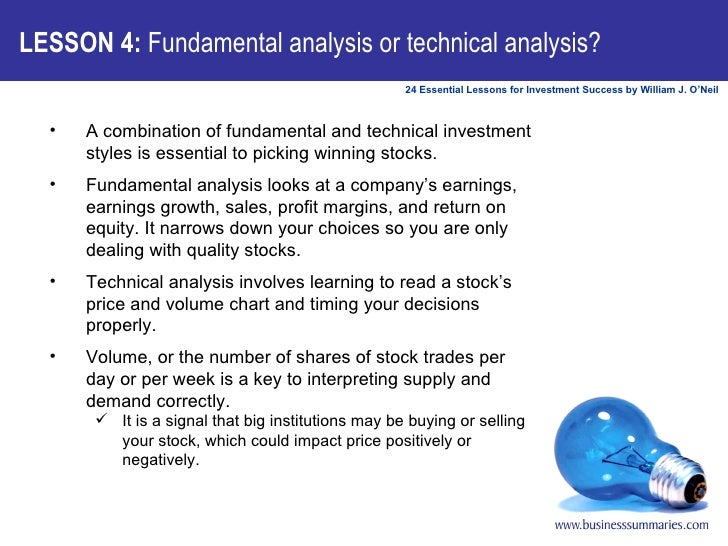 LESSON 4:  Fundamental analysis or technical analysis? <ul><li>A combination of fundamental and technical investment style...
