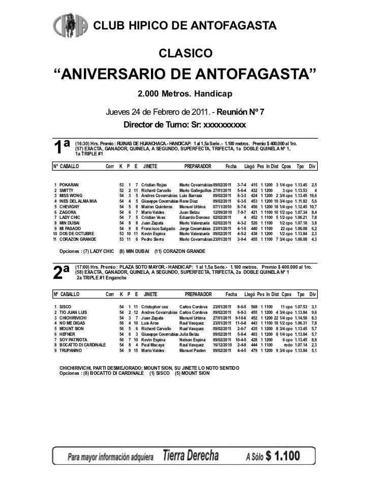 """CLUB HIPICO DE ANTOFAGASTA                                                          CLASICO""""ANIVERSARIO DE ANTOFAGASTA""""   ..."""