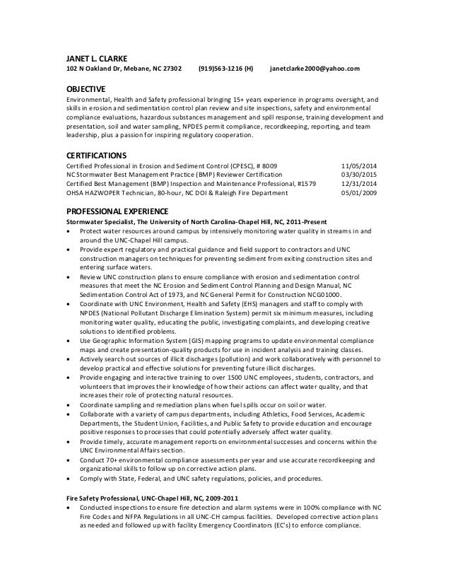 janet l clarke resume ehs professional 2015 1 - Safety Professional Resume