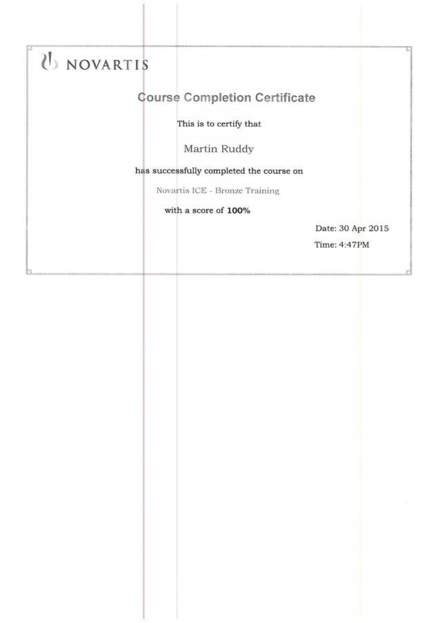 Novartis Project Management Bronze Training