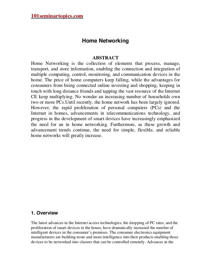 101seminartopics.com                               Home Networking                                ABSTRACTHome Networking ...