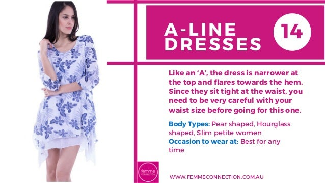 A-LINE DRESSES Body Types: Pear shaped, Hourglass shaped, Slim petite women Occasion to wear at: Best for any time Like an...