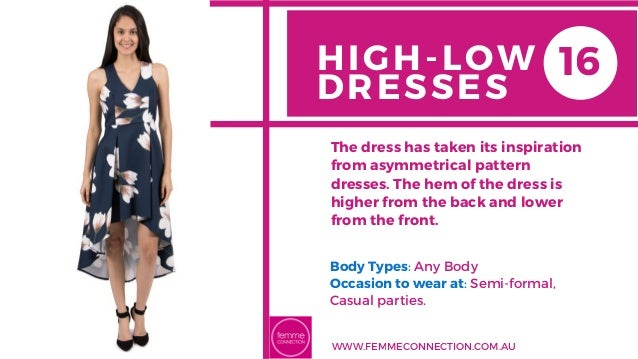 HIGH-LOW DRESSES Body Types: Any Body Occasion to wear at: Semi-formal, Casual parties. The dress has taken its inspirati...