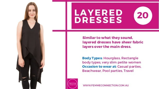 LAYERED DRESSES Body Types: Hourglass, Rectangle body types, very slim petite women Occasion to wear at: Casual parties, B...