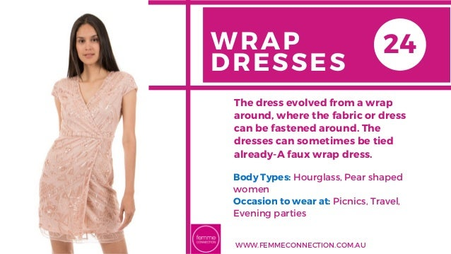 WRAP DRESSES Body Types: Hourglass, Pear shaped women Occasion to wear at: Picnics, Travel, Evening parties The dress evol...