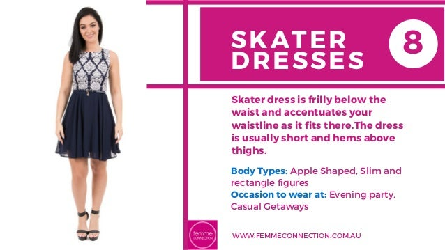 SKATER DRESSES Body Types: Apple Shaped, Slim and rectangle figures Occasion to wear at: Evening party, Casual Getaways Sk...