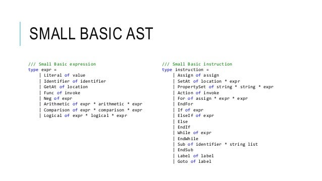SMALL BASIC AST /// Small Basic expression type expr = | Literal of value | Identifier of identifier | GetAt of location |...