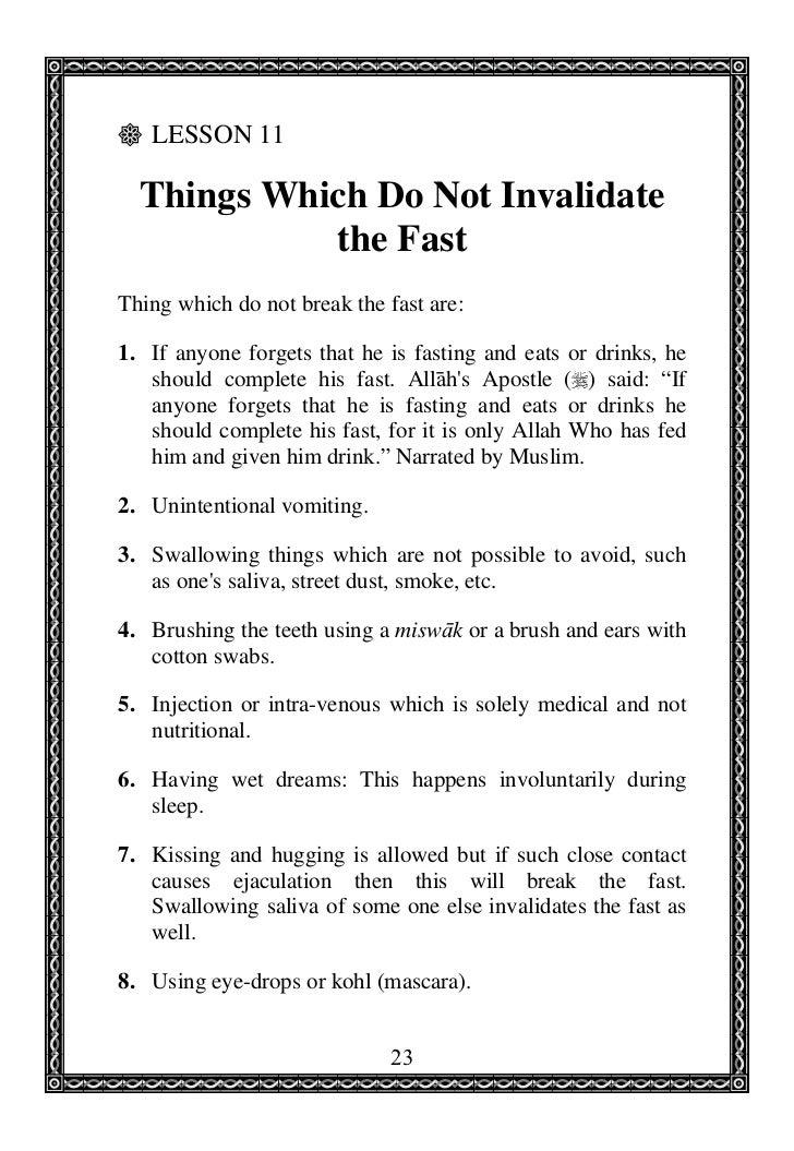 Invalidating your fast in ramadan