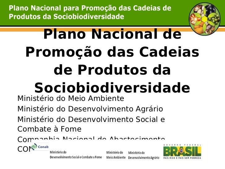 Plano Nacional de Promoção das Cadeias    de Produtos da  SociobiodiversidadeMinistério do Meio AmbienteMinistério do Dese...