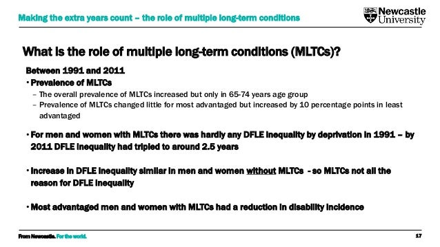 From Newcastle. For the world. What is the role of multiple long-term conditions (MLTCs)? Between 1991 and 2011 • Prevalen...