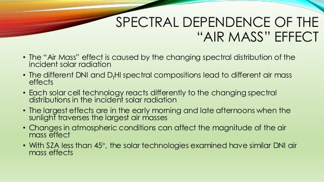 """SPECTRAL DEPENDENCE OF THE """"AIR MASS"""" EFFECT • The """"Air Mass"""" effect is caused by the changing spectral distribution of th..."""