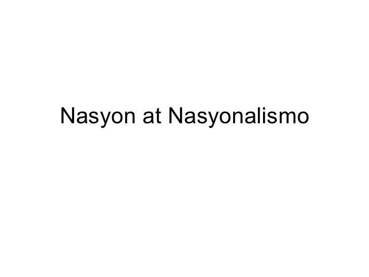 Nasyon at Nasyonalismo