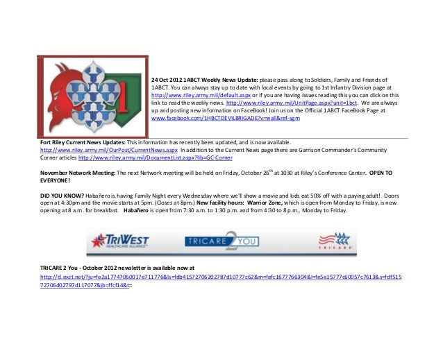 24 Oct 2012 1ABCT Weekly News Update: please pass along to Soldiers, Family and Friends of                                ...