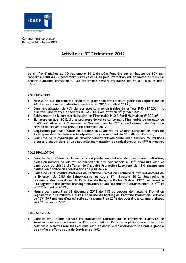 Communiqué de presseParis, le 24 octobre 2012                            Activité au 3ème trimestre 2012    Le chiffre d'a...