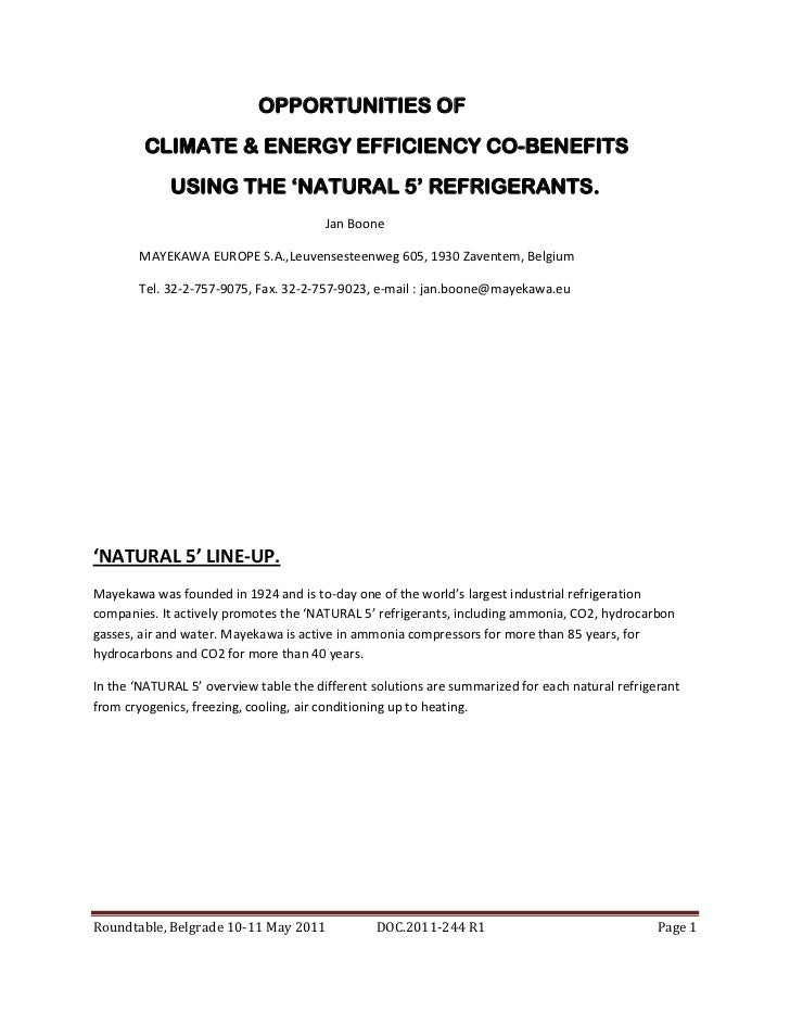 OPPORTUNITIES OF        CLIMATE & ENERGY EFFICIENCY CO-BENEFITS             USING THE 'NATURAL 5' REFRIGERANTS.           ...