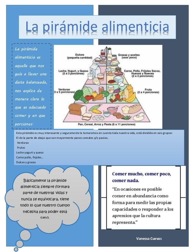 La pirámide alimenticia  La pirámide alimenticia es aquella que nos guía a llevar una dieta balanceada, nos explica de man...