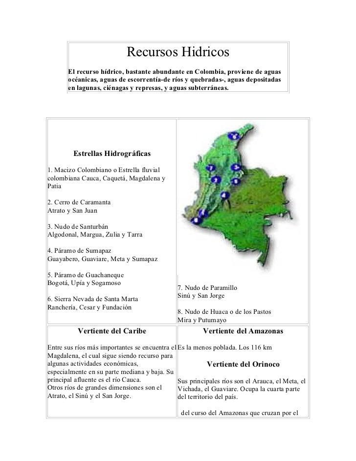 Recursos Hidricos       El recurso hídrico, bastante abundante en Colombia, proviene de aguas       océanicas, aguas de es...