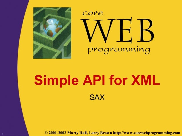 1 © 2001-2003 Marty Hall, Larry Brown http://www.corewebprogramming.com core programming Simple API for XML SAX