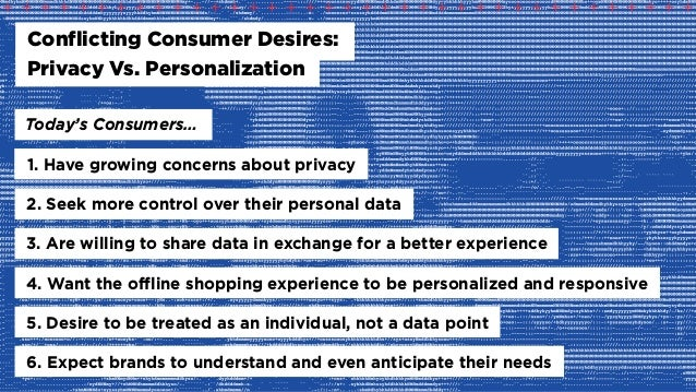 Today's Consumers… Conflicting Consumer Desires: Privacy Vs. Personalization 1. Have growing concerns about privacy 2. See...
