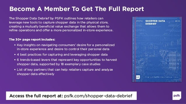 The Shopper Data Debrief by PSFK outlines how retailers can leverage new tools to capture shopper data in the physical sto...