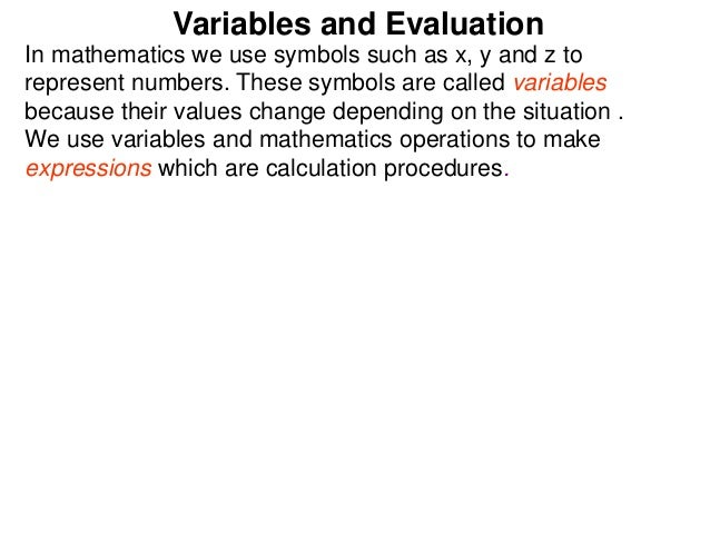 24 Variables And Evaluation