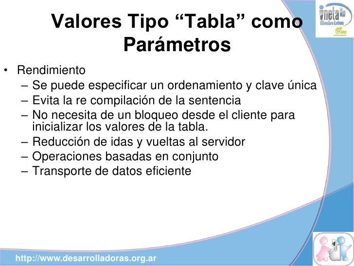 """Valores Tipo """"Tabla"""" como                  Parámetros • Rendimiento   – Se puede especificar un ordenamiento y clave única..."""