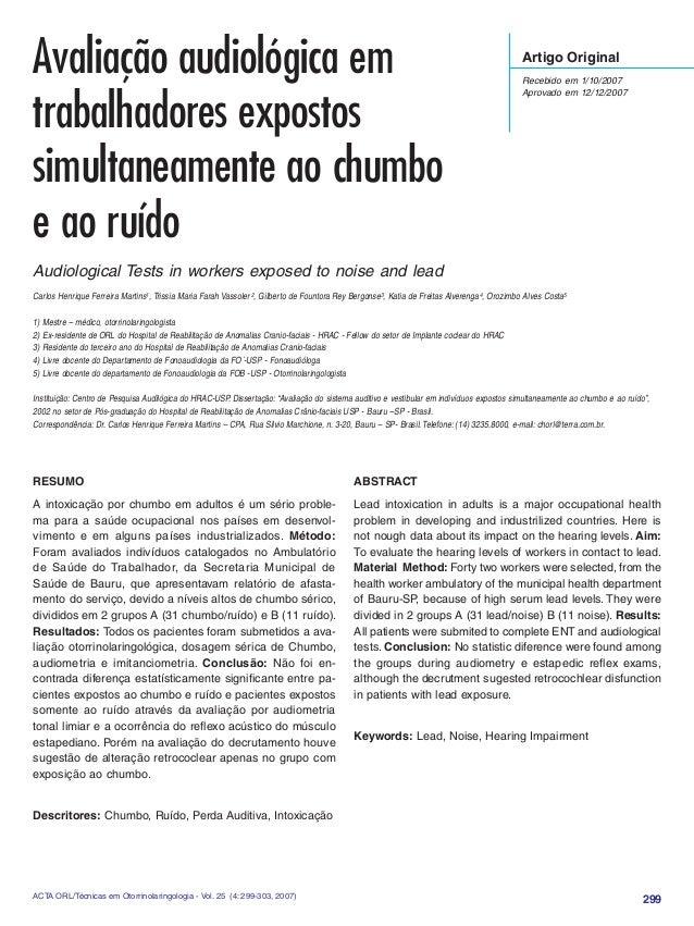 299ACTA ORL/Técnicas em Otorrinolaringologia - Vol. 25 (4: 299-303, 2007) Artigo Original Recebido em 1/10/2007 Aprovado e...