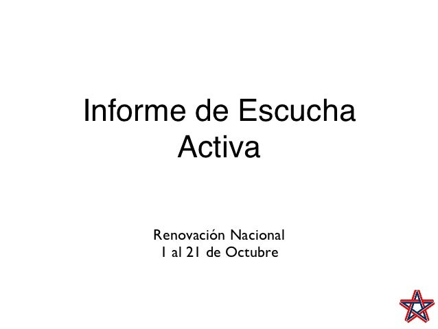 Informe de Escucha      Activa    Renovación Nacional     1 al 21 de Octubre