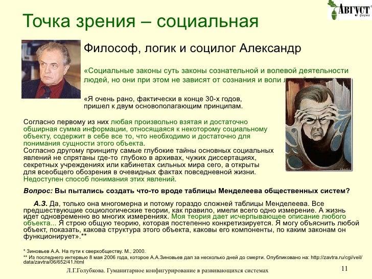 Точка зрения – социальная <ul><li>Философ, логик и социлог Александр Зиновьев:  </li></ul><ul><li>«Социальные законы суть ...