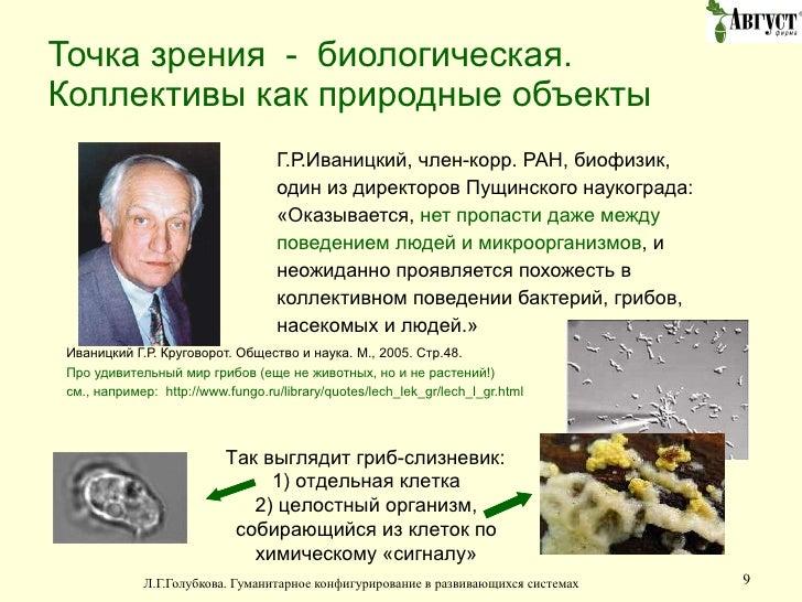 Точка зрения  -  биологическая. Коллективы как природные объекты <ul><li>Г.Р.Иваницкий, член-корр. РАН, биофизик,  </li></...