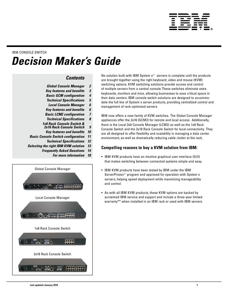 IBM CoNSoLe SwITChDecision Maker's Guide                                                     No solution built with IBM Sy...