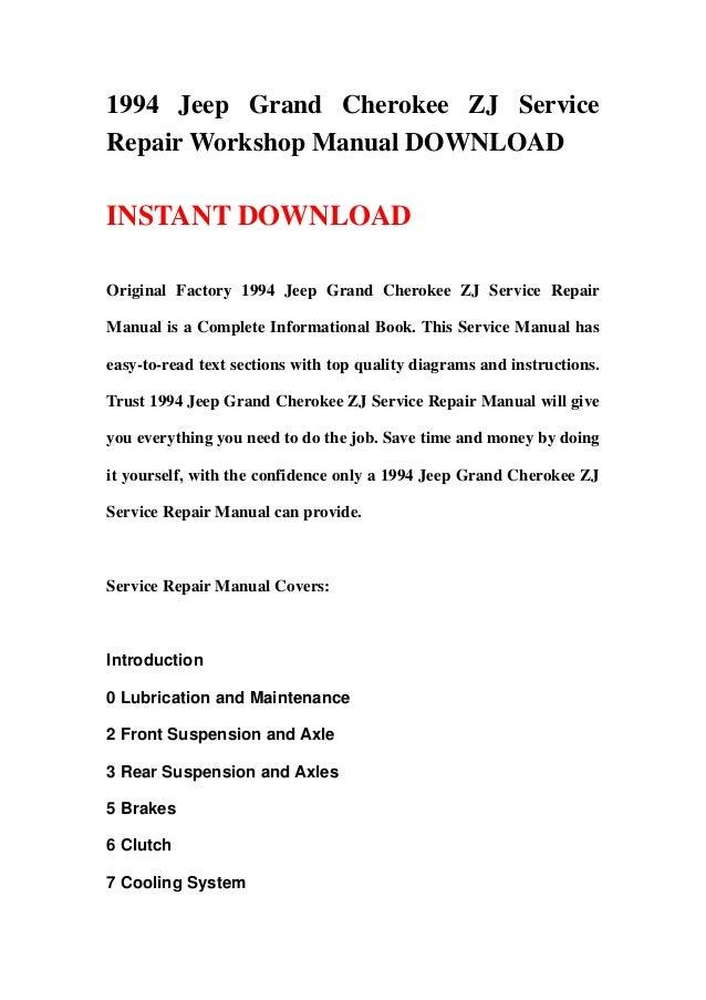 1994 jeep grand cherokee zj service repair workshop manual rh slideshare net 1994 jeep grand cherokee service manual 1994 jeep grand cherokee factory service manual
