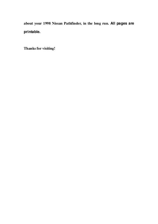 nissan pathfinder full service repair manual 1998