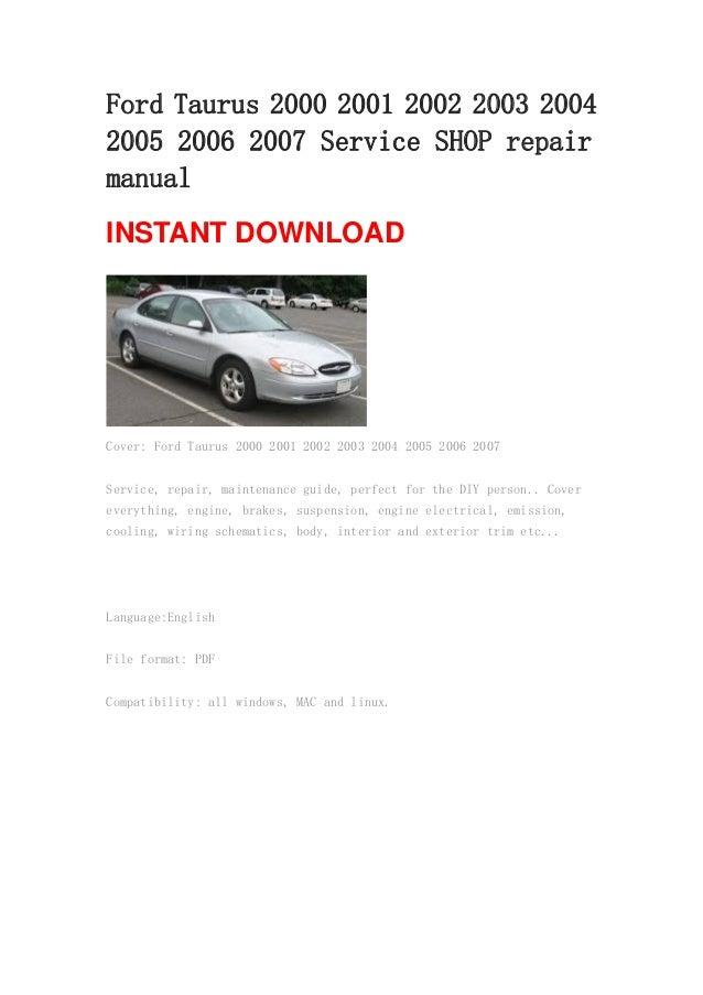 ford taurus 2000 2001 2002 2003 2004 2005 2006 2007 repair manual rh slideshare net 2000 Ford Taurus Hose Diagram 2000 Ford Taurus Repair Manual PDF