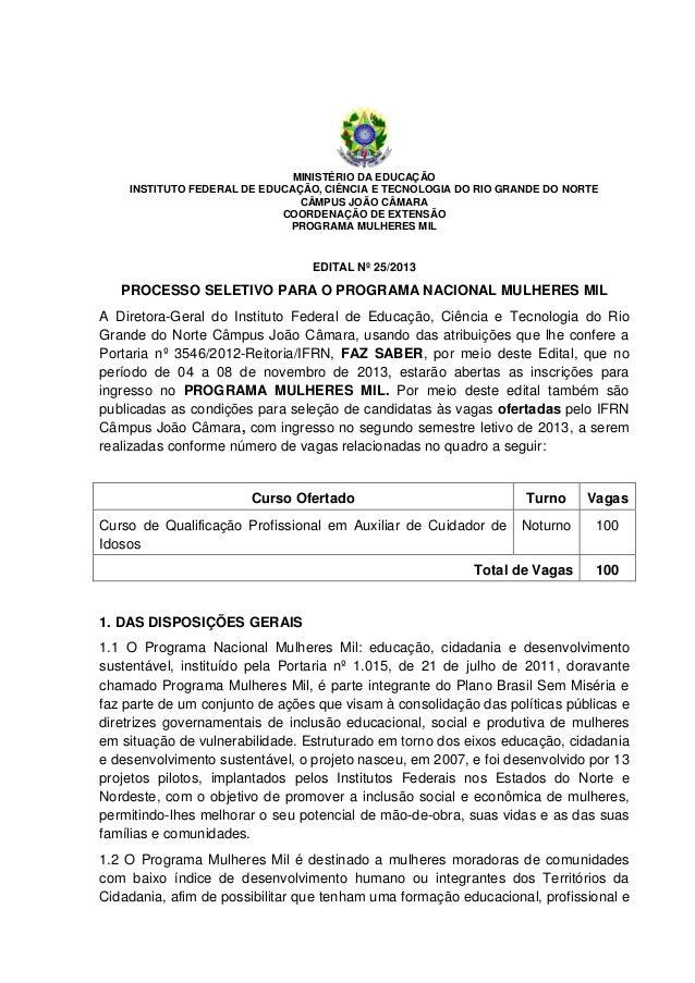 MINISTÉRIO DA EDUCAÇÃO INSTITUTO FEDERAL DE EDUCAÇÃO, CIÊNCIA E TECNOLOGIA DO RIO GRANDE DO NORTE CÂMPUS JOÃO CÂMARA COORD...