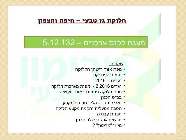 חלוקת גז טבעי – חיפה והצפון  מצגת לכנס צרכנים – 231.21.5 שקפים: • מפת אזור רישיון החלוקה • תיאור הפרויקט • יעדי...