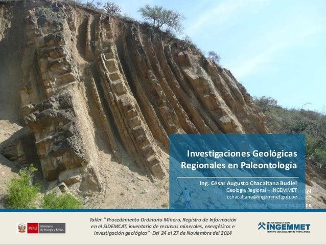 Ing. César Augusto Chacaltana Budiel Geología Regional – INGEMMET cchacaltana@ingemmet.gob.pe Investigaciones Geológicas R...