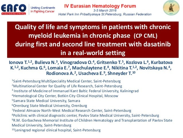 Quality of life and symptoms in patients with chronic myeloid leukemia in chronic phase (CP CML) during first and second l...
