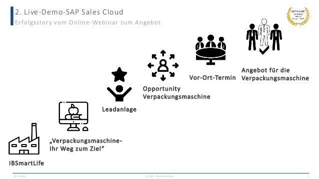 2. Live-Demo-SAP Sales Cloud 25.10.2018 © 2018 - IBsolution GmbH 4 Erfolgsstory vom Online-Webinar zum Angebot IBSmartLife...