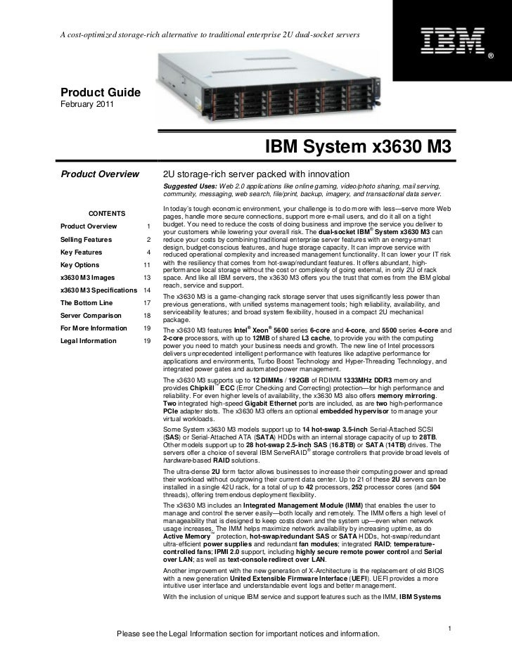 IBM System x3630 M3 Product Guide