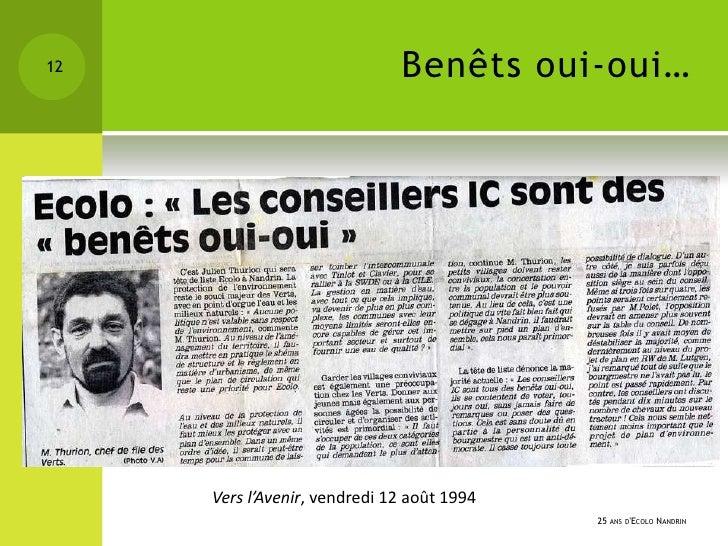 12                            Benêts oui-oui…     Vers l'Avenir, vendredi 12 août 1994                                    ...