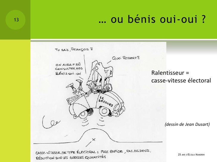 13   … ou bénis oui-oui ?              Ralentisseur =              casse-vitesse électoral                   (dessin de Je...