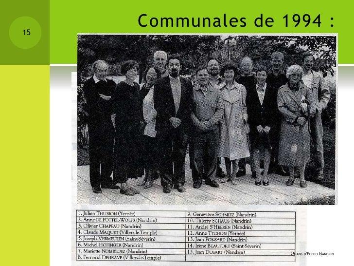15     Communales de 1994 :            une équipe…                    25 ANS DECOLO NANDRIN