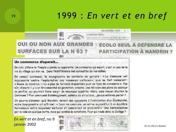 19                          1999 : En vert et en bref En vert et en bref, no 9 janvier 2002                               ...