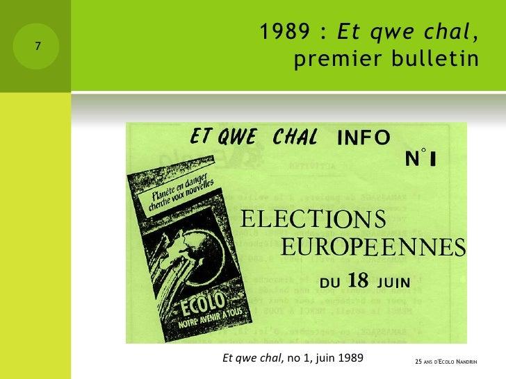1989 : Et qwe chal,7              premier bulletin    Et qwe chal, no 1, juin 1989   25 ANS DECOLO NANDRIN