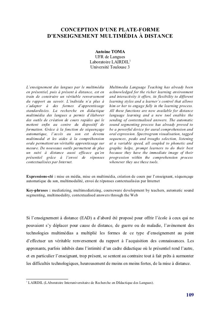 CONCEPTION D'UNE PLATE-FORME                D'ENSEIGNEMENT MULTIMÉDIA À DISTANCE                                          ...